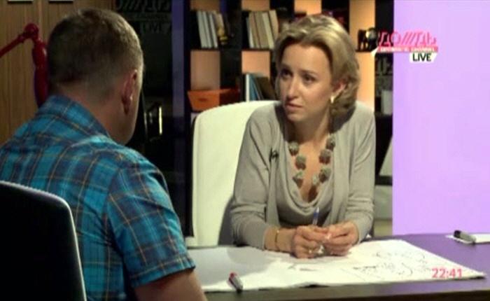Марина Малыхина и Михаил Корнев на телеканале Дождь