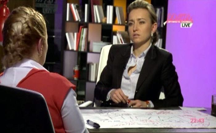 Марина Малыхина и Софья Светлосанова на телеканале Дождь
